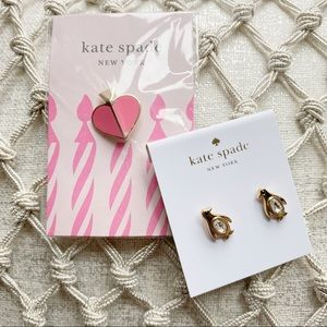 Kate Spade Penguin Earrings and Heart Pin Set